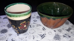 Pohár és kaspó, a képen látható állapotban
