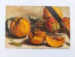 Régi képeslap gyümölcs csendélet levelezőlap barack kaktuszgyümölcs