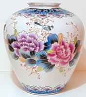 Hatalmas, gyönyörű dúsan festett régi kínai váza
