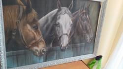 Gyönyörú lovas pasztellkép szignózott
