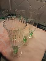 Retro - magas pezsgőspohár - 5 db - halványzöld
