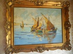 Szignált, XX. századi, olaj-vászon festmény, blondell keretben.