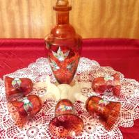 Bohemia - cseh vörös kristály boros pohár készlet