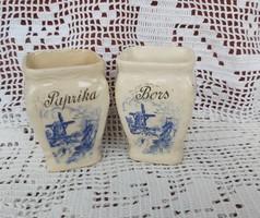 Régi érett fajansz  Paprika Bors kék malmos szélmalmos fűszertartó fűszeres
