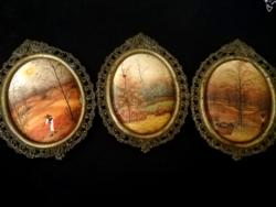 3db miniatűr selymen,rézkeretben