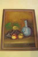 Szignózott olajfestmény...Gyümölcs csendélet kék vázával,megkímélt keretben.