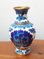 Kék fehér virágmotívumos rekesz zománc váza