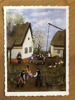 Aranyos Húsvéti Üdvözlő képeslap - Török János: Húsvéti locsolkodás, 1982