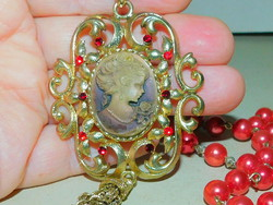 Szecessziós Camea Vintage Aranyozott Gyöngysor- Nyaklánc