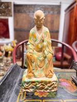 Kínai Arhat mázas kerámia szobor, keleti, ázsiai, buddhista, japán