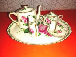 Rózsás porcelán mini teáskészlet tálcán