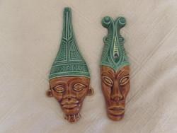 Afrikai jellegű mázas kerámia falimaszkok
