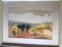 Plesnivy Károly ( 1930-1984 ) Barna fák című képcsarnokos festménye .