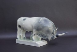 Zsolnay porcelain gray cattle figurine with sinko mark very nicely painted with brilliantly glossy glaze surface