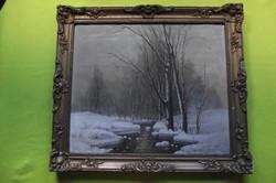 Mesterházy Dénes : Téli tájkép patakkal.