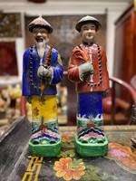 Kínai mandarin hivatalnok, mázas kerámia szobor pár, keleti, ázsiai, japán