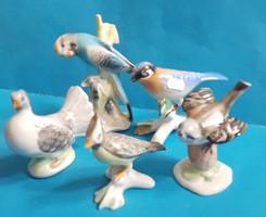5 db porcelán és kerámia madár