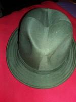 Antik vászon  mintás férfikalap zöld színben zöld kalapszalaggal képek szerint