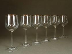 1F717 Elegáns talpas aranyszegélyes boros pohár készlet 6 db