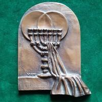 Várhelyi György: Menóra, hanukia, egyedi bronz  plakett