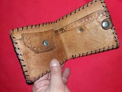 Antik lengyel bőrdíszműves bőr erszény pénztárca a képek szerint 1