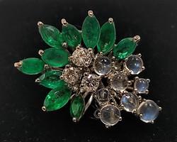 Smaragd- gyémánt-holdkő 75 fehérarany gyűrű