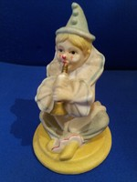Gyönyörű biszkvit Capodimonte porcelán figura zenélő bohóc 10 cm képrk szerint