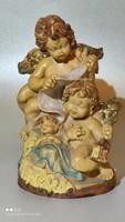 Elragadó festett angyal csoport jelzett plastik szobor