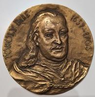 Kiss Sándor Tököly Imre bronz plakett 11 cm KS jelzéssel