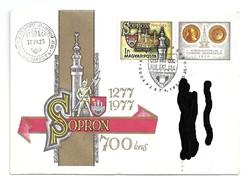 Sopron 1610-beli látképe szelvényes bélyegen 1977.