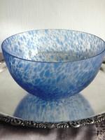 Régi kézműves kék pöttyös kínáló tál