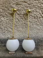 8pcs bauhaus / art deco ceiling lamp with copper / double layer opal bulb chandelier