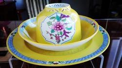 Antik Herendi Sárga Mohong reggeliző szett áttört teáscsészével, mandarin füllel