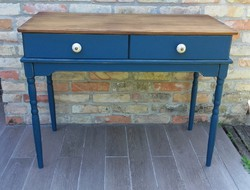 Rusztikus kék vintage konzolasztal, íróasztal, laptop asztal