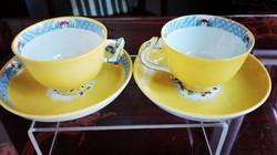 1db gyík és 1 db mandarin fogós Antik Herendi sárga Mohong mokkás csésze