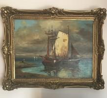 Intestinal red ernő p.V. Painting 60x80cm + frame