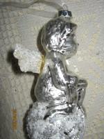 Ezüst üveg karácsonyfa  dísz angyal