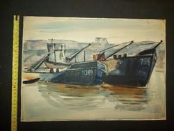 Farkas Lídia (1910-1985) kétoldalas akvarell festménye, 42x30 cm, papír
