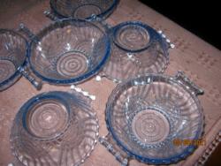 6 art deco kék üveg tál