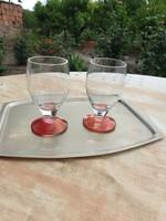 Piros talpas likőrös pohár 2 db eladó!