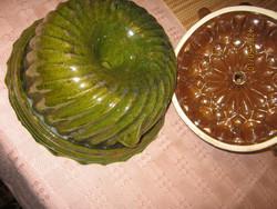 2 Régi mázas cserép kuglóf sütő forma