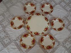 """Royal Albert  """" Old Country Roses """" Angol rózsás csontporcelán tortás süteményes készlet"""
