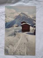 Antik képeslap Svájc havas hegyek Arosa, menedékházak