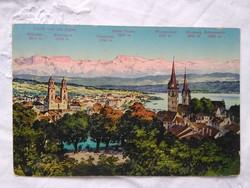 Antik képeslap Svájc Zürich svájci Alpok csúcsaival a háttérben 1918