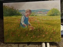 Virágszedő gyermek (50x70)