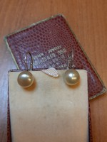 Ezüst valódi arany árnyalatú gyöngy fülbevaló patentzárral
