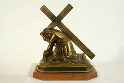 Jesus first falls copper statue 19x16cm Calvary cross shoulder takes the cross stations