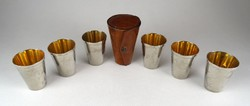 1F961 Antik rozsdamentes fém pohár készlet úti készlet bőr tokban