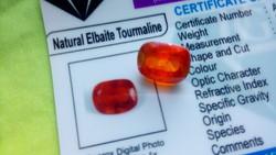 9.15 Carat Mozambican orange tourmaline with precious stones certificate