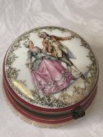 Antik jelenetes porcelán doboz, szelence, nagyon szép.